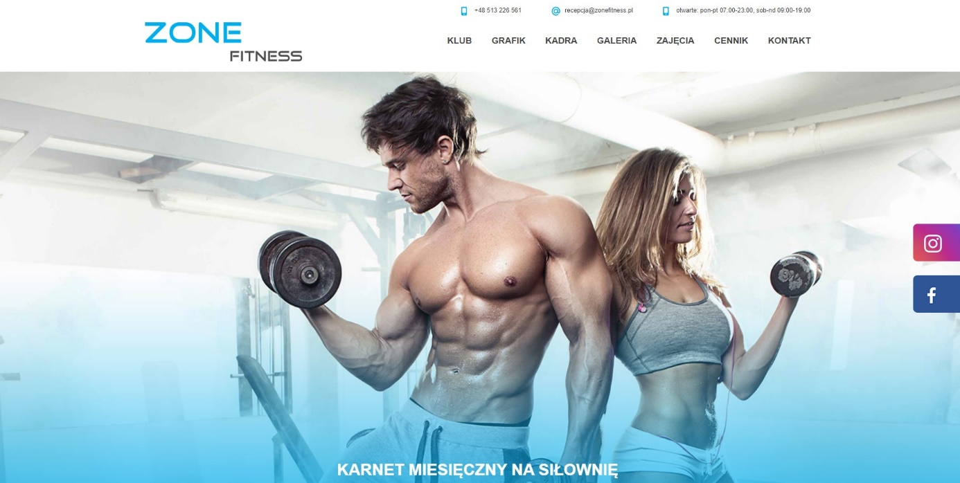 Strona internetowa dla siłowni lub fitness klubu - wykonanie