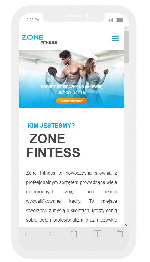 Strona mobilna dla siłowni