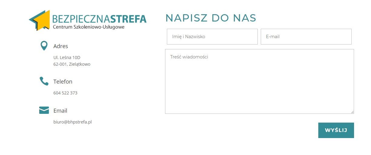 Usługi BHP - formularz kontaktowy