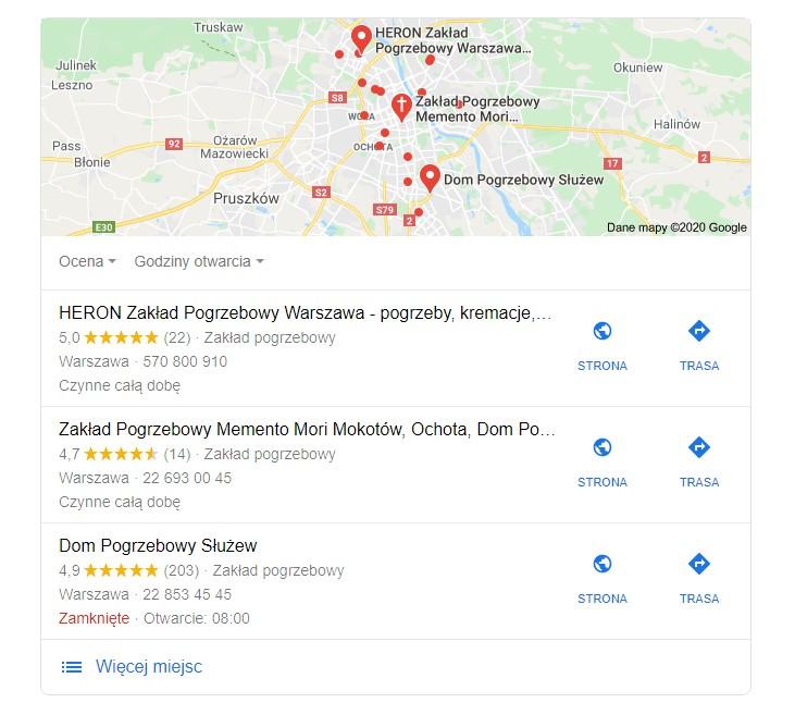 Oferta zakładu pogrzebowego - wyniki z map Google