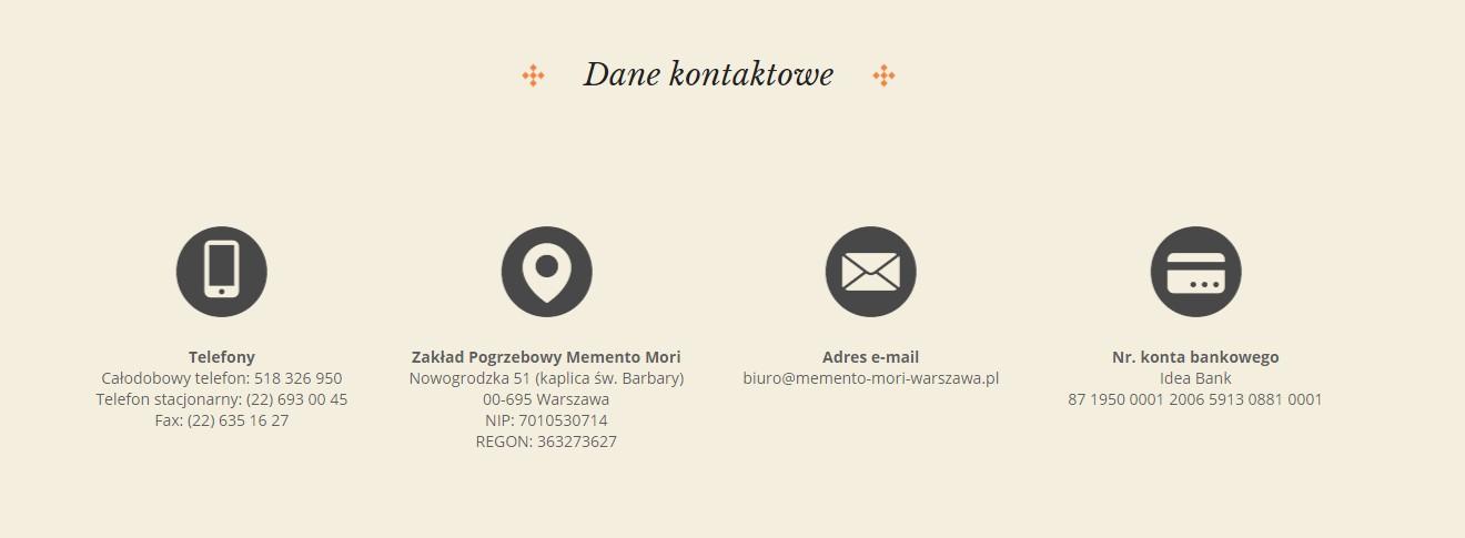 Dane do kontaktu do firmy pogrzebowej - przykład strony WWW