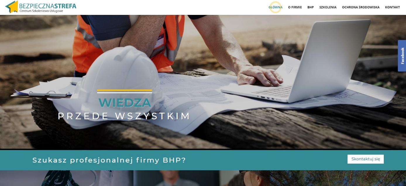 Strona WWW dla firmy szkoleniowej BHP