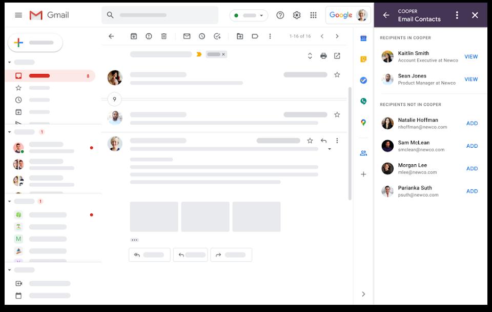 Poczta Gmail - wygląd interfejsu