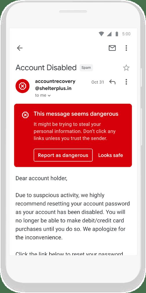 Komunikat o niebezpiecznej wiadomości na koncie Gmail
