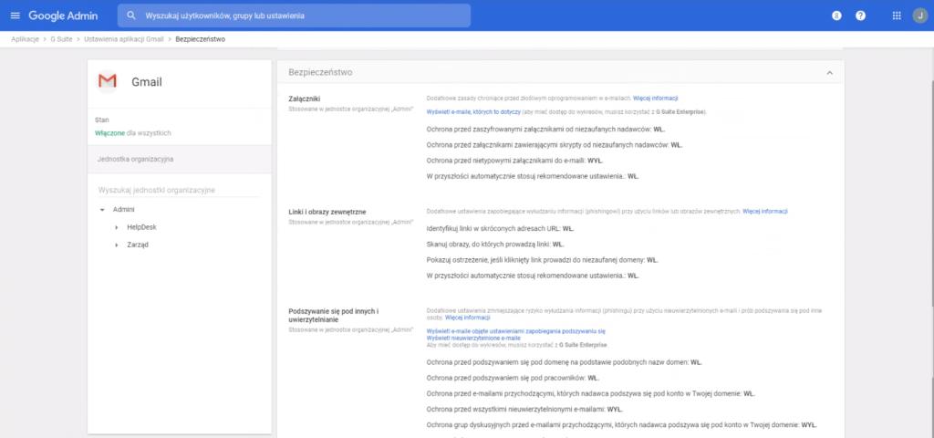 Bezpieczeństwo Gmail w G Suite