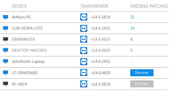 Aktualizacje systemu Windows w konsoli administracyjnej TeamViewer Remote Management.
