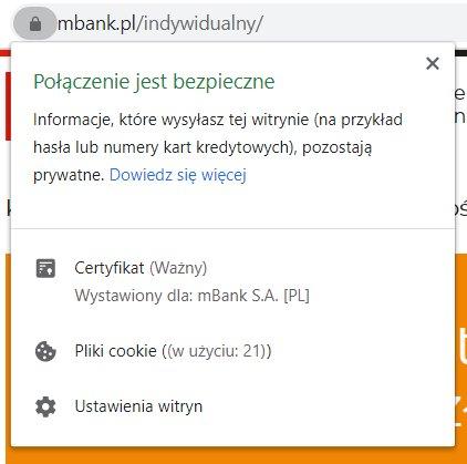 Bezpieczne połączenie z bankiem mBank - logowanie do konta