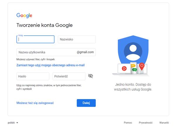 Konsola tworzenia konta Google