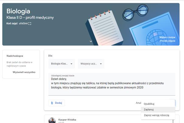 Wstawianie informacji w karcie Strumień w Google Classroom