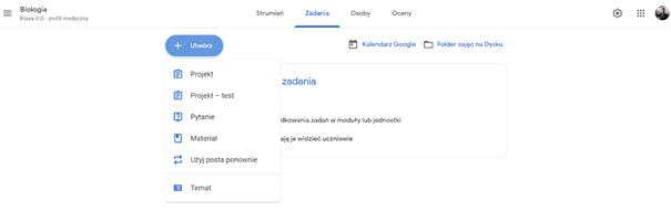 Tworzenie zadania w Google Classroom