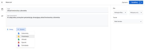 Dodawanie załącznika do zadania w Google Classroom