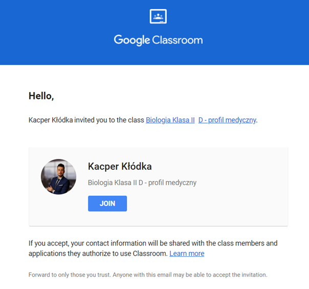 Widok maila z zaproszeniem do klasy Google Classroom