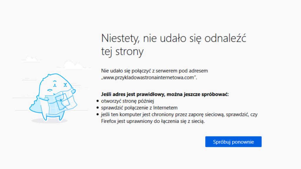Niestety, nie udało się odnaleźć tej strony - komunikat błędu w Mozilla Firefox