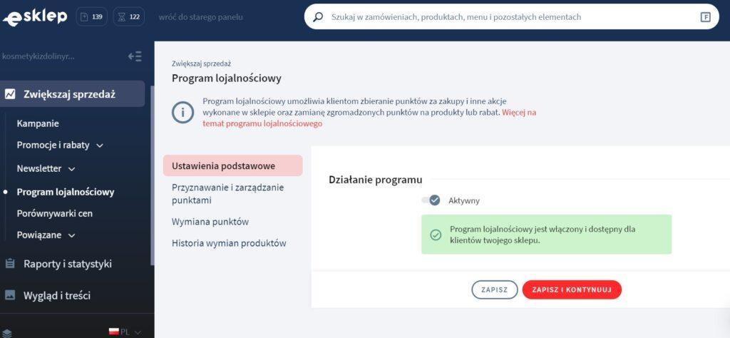 Konfiguracja dla programu lojalnościowego w usłudze eSklep w home.pl