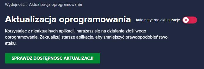Automatyczne aktualizowanie aplikacji w Avast