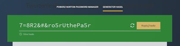 generowanie silnego hasła w Menedżerze haseł Norton 360