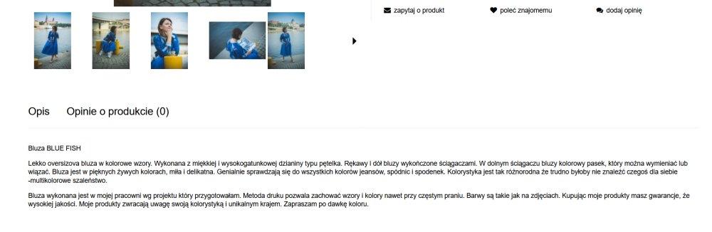 Unikalny opis produktu w sklepie internetowym z modą damską.