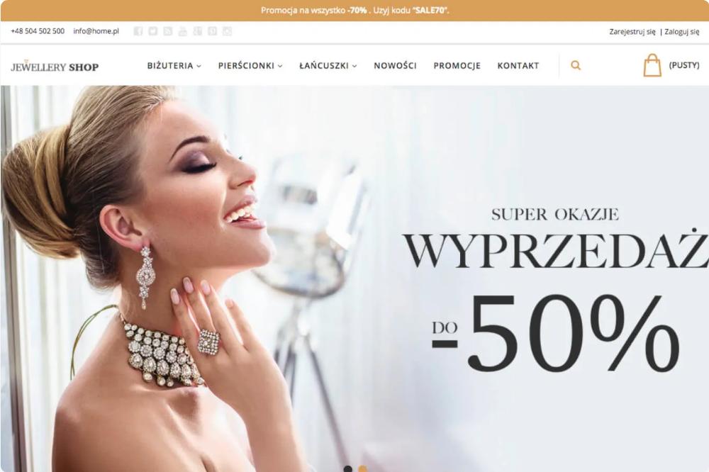 Strona sklepu internetowego z biżuterią.