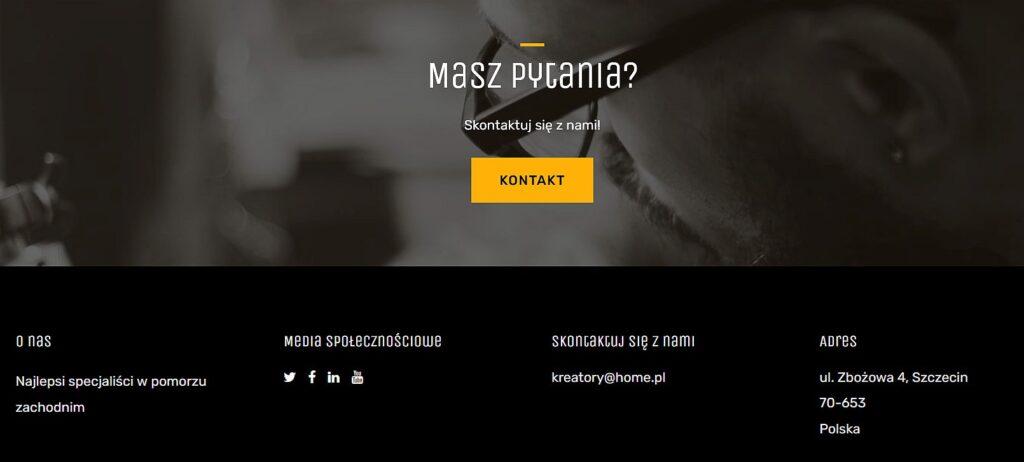 Stopka z danymi kontaktowymi na stronie internetowej