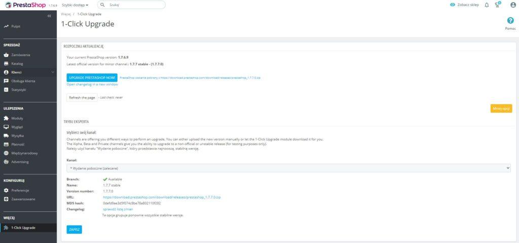 Weryfikacja wersji PrestaShop w panelu administracyjnym