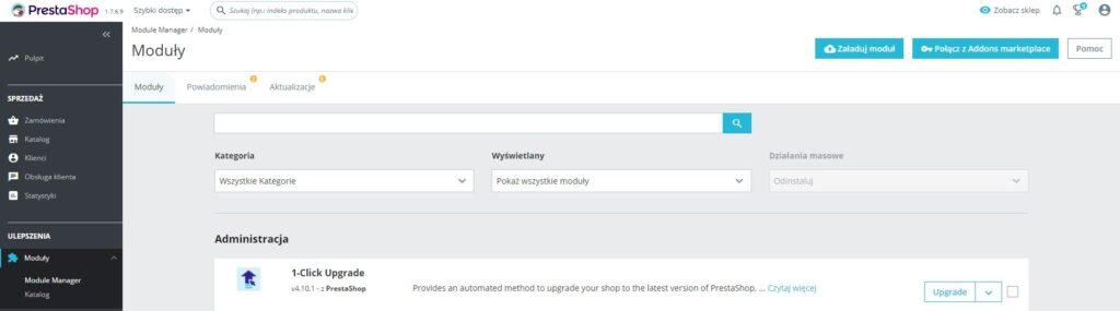 Moduł 1-Click Upgrade w Prestashop