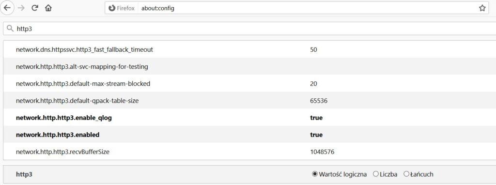 Jak aktywować HTTP/3 w Firefox