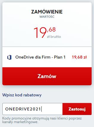 Kod rabatowy na OneDrive dla Firm. Wpisz kod zniżkowy i korzystaj z przestrzeni w chmurze taniej.