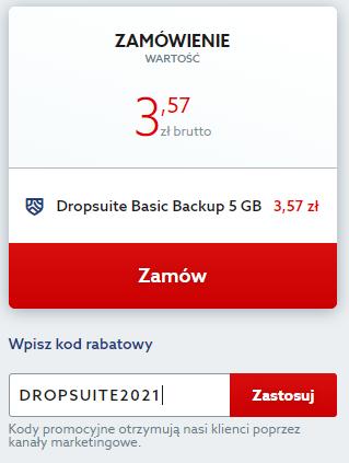 Kod rabatowy na Dropsuite Email Backup. Wpisz kod zniżkowy i twórz bezpieczną kopię skrzynki email taniej.