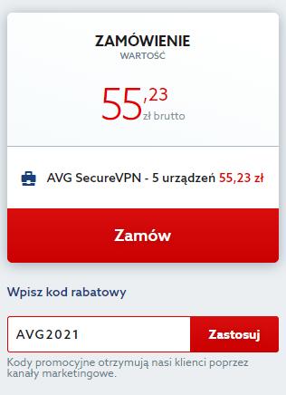 Dodawanie kupony rabatowego w koszuku na zakup AVG Secure VPN.