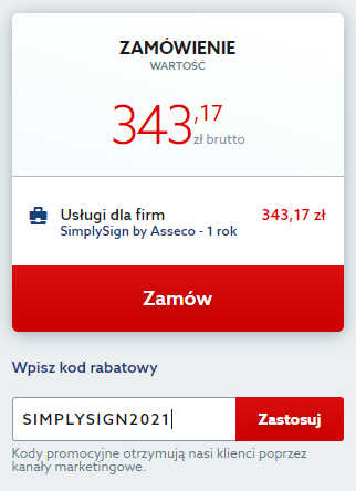 Kod rabatowy obniżający cenę podpisu elektronicznego SimplySign. Odbierz rabat na certyfikat kwalifikowany.