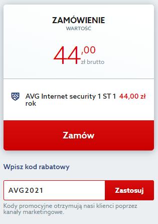 Jak dodać kod rabatowy na antywirus AVG Internet Security