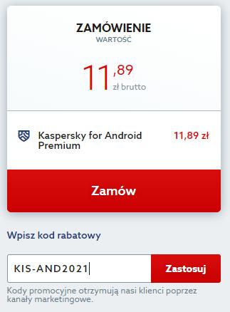 Kod rabatowy na Kaspersky for Android Premium. Wpisz kod na zniżkę i chroń swój smartfon lub tablet z Android