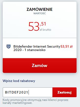 Kod rabatowy na antywirus Bitdefender Internet Security. Wpisz kod zniżkowy i chroń swój komputer taniej