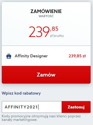 Kod rabatowy na program do obróbki grafiki Affinity. Wpisz kod zniżkowy i korzystaj z dożywotniej licencji Affinity taniej