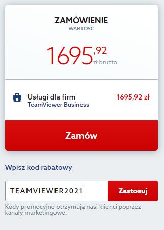 Kod rabatowy na TeamViewer, obniżający cenę TeamViewer