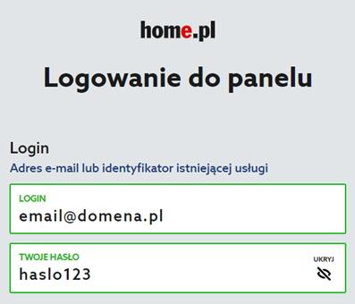 Ekran logowania home.pl z widocznym hasłem