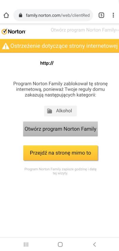 Komunikat z ostrzeżeniem o niebezpiecznej stronie internetowej - Norton 360