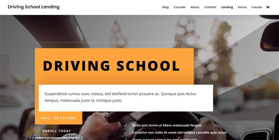 Motyw WordPress do DIVI - szkoła jazdy