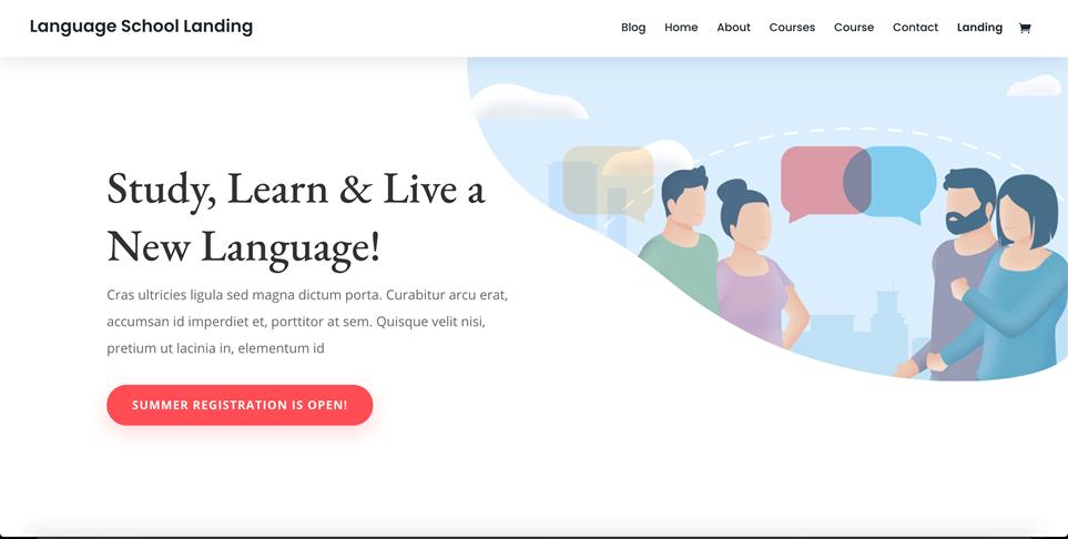 Motyw WordPress do DIVI - szkoła językowa