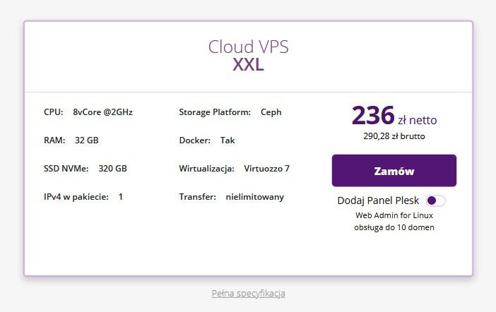 Cloud VPS XXL w homecloud.pl