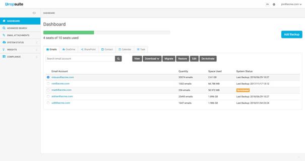 Widok pulpitu nawigacyjnego w Dropsuite Email Backup