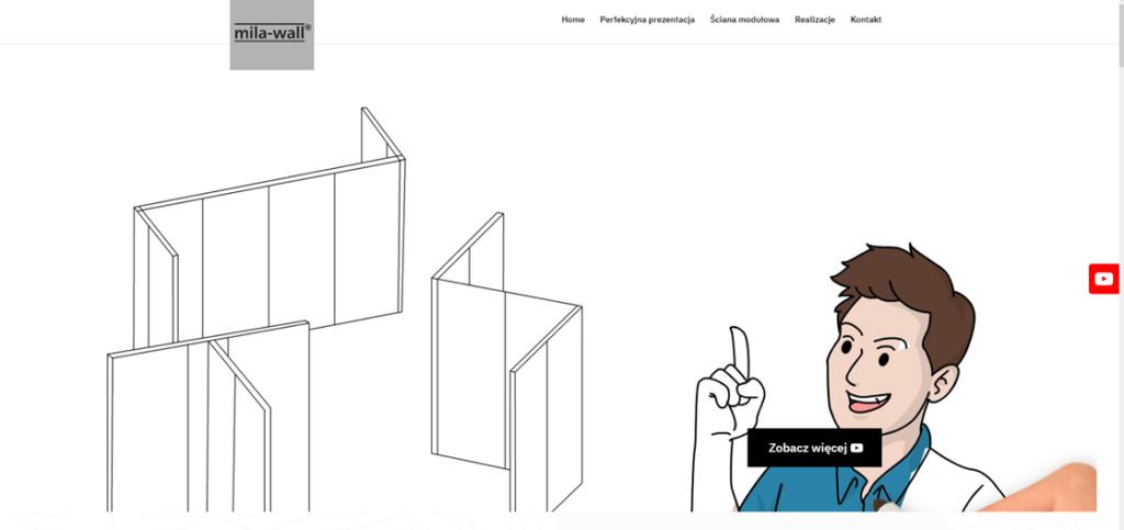 Header na stronie internetowej z minimalistycznym designem