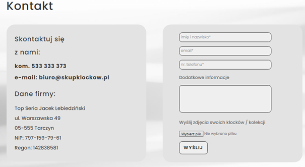 Formularz kontaktowy na stronie internetowej - projekt