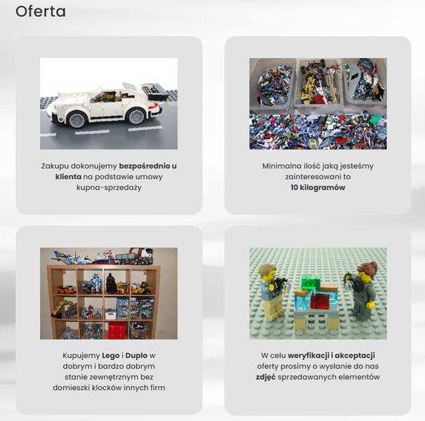 Strona internetowa w niszowej branży - oferta klocków Lego