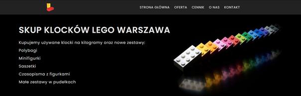 Strona internetowa z ofertą klocków Lego