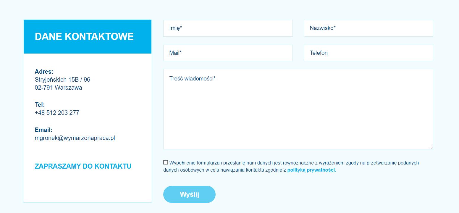 Formularz kontaktowy na stronie internetowej