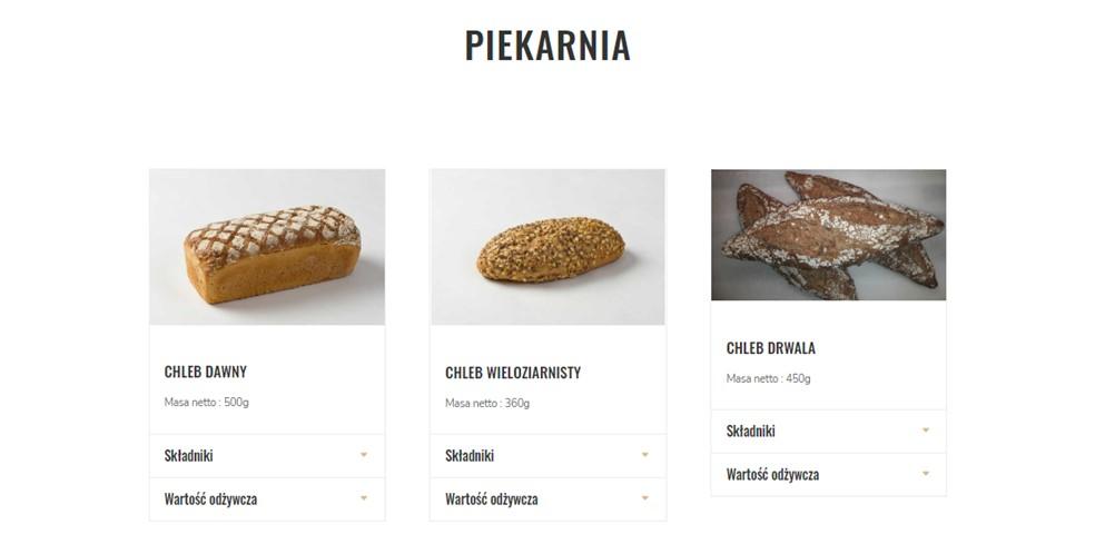 Moduł sklepowy na stronie internetowej dla firmy gastronomicznej