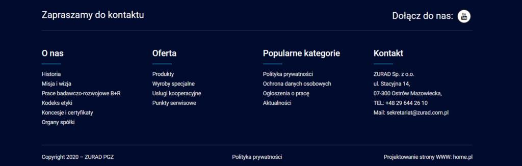 Przykład stopki na stronie internetowej