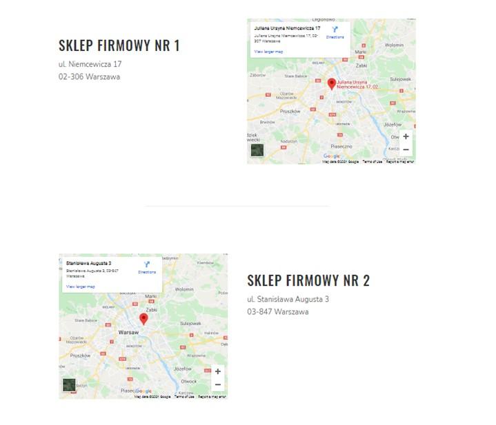 Mapa dojazdu na stronie WWW