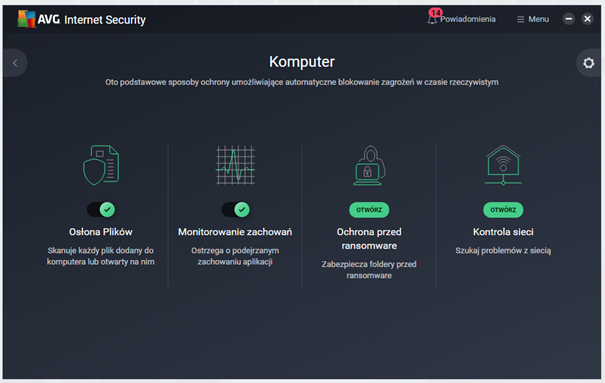 Kafelek Komputer w AVG Internet Security